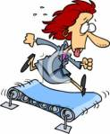 0511-0703-0518-2346_Exhausted_Businesswoman_Running_on_a_Treadmill_clipart_image